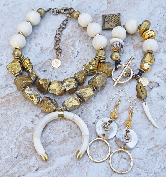 mystical winter white bone and gold modern tribal jewelry