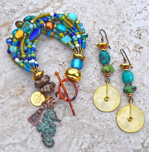 Gorgeous Turquoise, Blue Glass, Gold & Copper Seahorse Charm Bracelet and Turquoise and Gold Disc Earrings