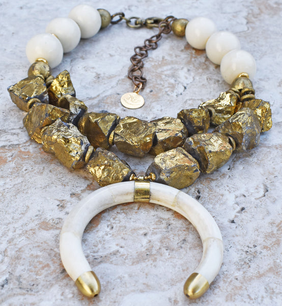 Mystic Gold Quartz, African Brass and Ox Bone Crescent Choker Necklace