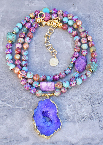 Brilliant Purple, Blue, Gold and Violet Druzy Agate Pendant Necklace