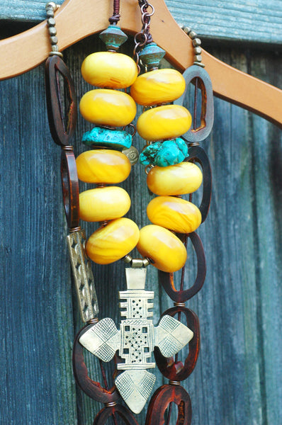 Bold African Amber, Turquoise and Ethiopian Cross Statement Necklace
