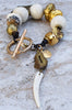 Mystic Gold Quartz, African Brass, Gold and Bone Tribal Charm Bracelet