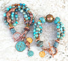summery island blue brown jasper and copper beautiful bracelets