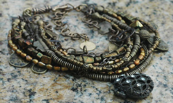 Vintage Bronze, Brass, Chain, Crystal & Coin Collar Statement Necklace