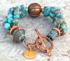 Custom Unique Blue Brown Jasper, Verdigris Clay and Copper Bracelet