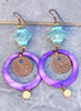 Brilliant Turquoise Blue, Copper and Unique Purple Shell Hoop Earrings