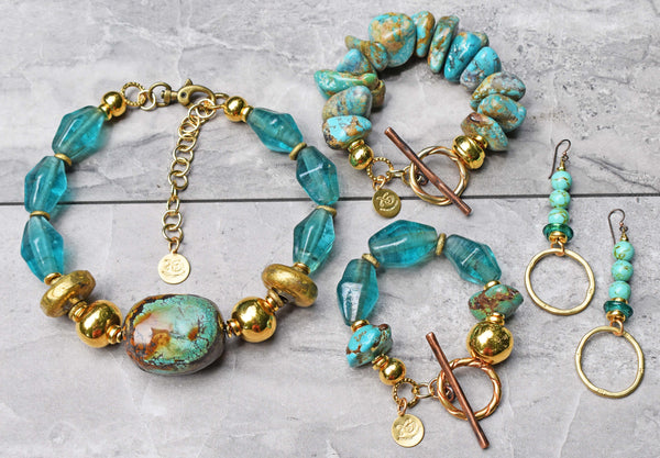 Gorgeous Recycled Aqua Blue Glass, Gold and Turquoise Statement Jewelry