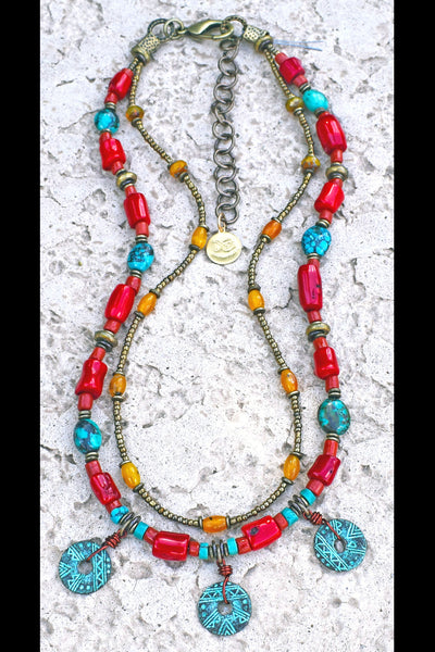Custom Tibetan Red Coral, Turquoise, Yellow Jade and Verdigris Coin Jewelry Set