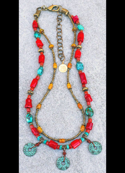 Custom Tibetan Red Coral, Turquoise, Yellow Jade and Verdigris Coin Necklace