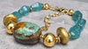 Breathtaking Aqua Blue Glass, Gold and Turquoise Stone Choker Necklace