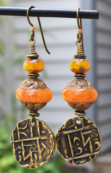 Ethnic and Exotic Tibetan Amber and Brass Coin Dangle Earrings