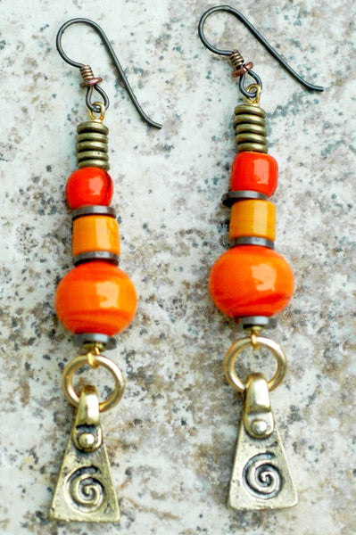 Bright and Vivid Orange Glass and Brass Spiral Dangle Earrings