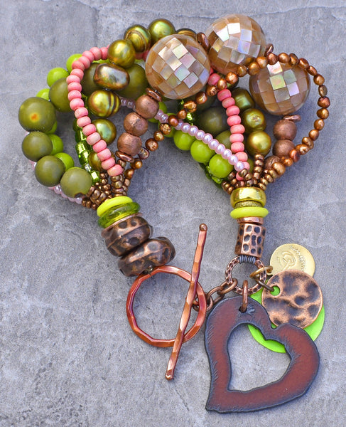 Beautiful Pink, Green, Copper, Pearl and Iron Heart Charm Bracelet