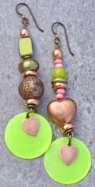 Beautiful Pink, Green, Chartreuse Coins and Copper Heart Earrings