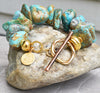 Breathtaking Chunky Turquoise Nugget and Gold Statement Bracelet