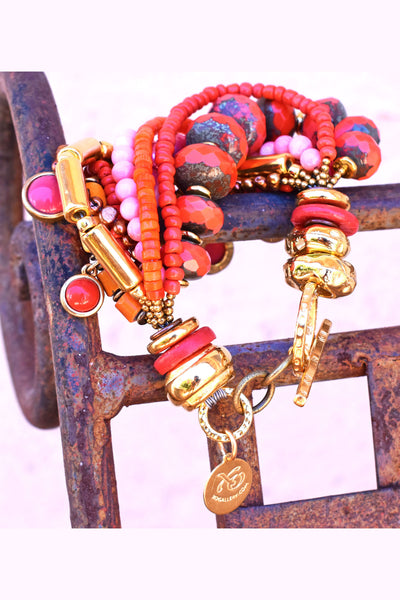 Beautiful Pink and Orange Coral and Gold Statement Bracelet Redesign $175
