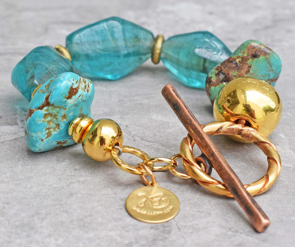Breathtaking Aqua Blue Recycled Glass, Gold & Turquoise Stone Bracelet