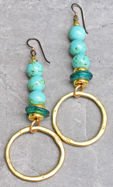 Beautiful and Bold African Turquoise, Glass and Gold Hoop Earrings