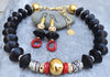 Custom Black, Gold, Silver and Red Coral Statement Necklace and Earrings