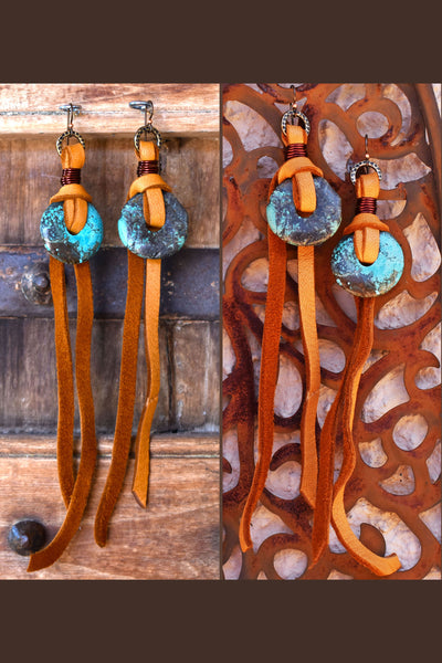 Rustic and Exotic Leather & Chinese Turquoise Disc Statement Earrings