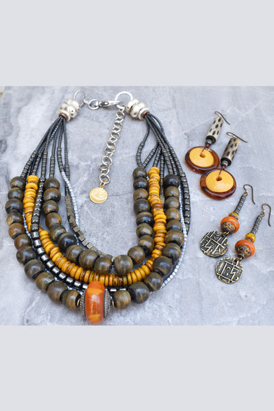 Fantastic Fall Colors! Grays, Charcoal, Ambers and Silver Necklace and Earrings