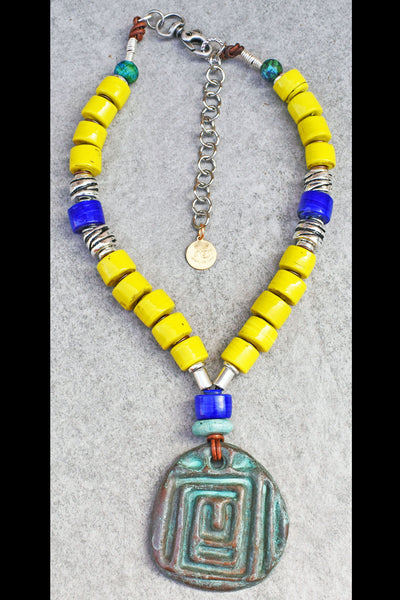 Bold and Vibrant Yellow, Blue and Verdigris Meandros Pendant Necklace