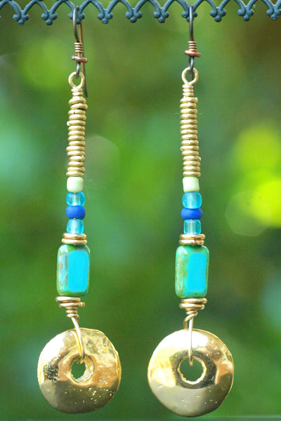 Gorgeous Blue Glass, African Brass and Gold Disc Statement Earrings