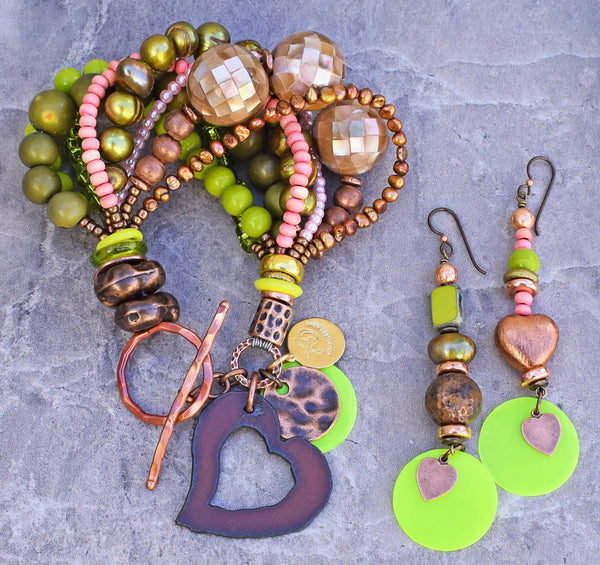 Beautiful Pink, Green, Copper, Pearl and Heart Bracelet and Earrings
