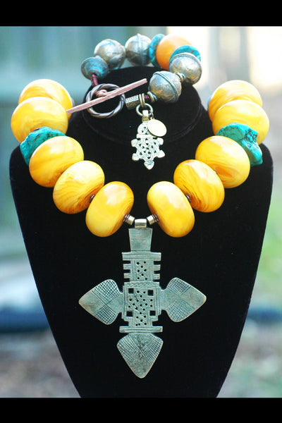 Bold African Amber, Turquoise and Ethiopian Cross Statement Necklace and Bracelet