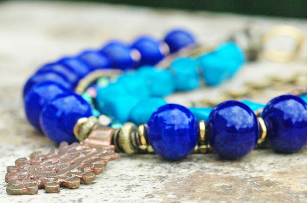 Lavish Cobalt Blue Glass, Turquoise and African Copper Cross Necklace