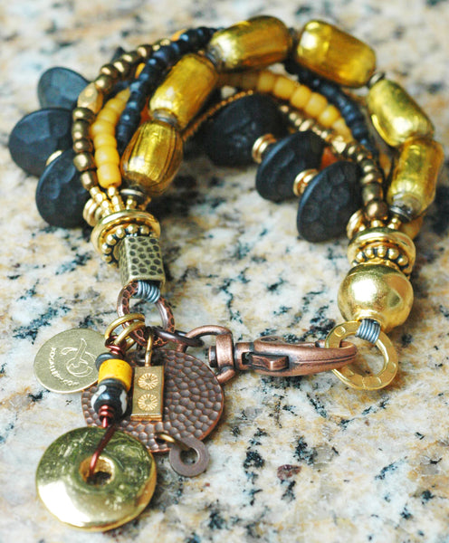 Stunning Venetian Gold Glass, Black Wood, Amber & Statement Bracelet