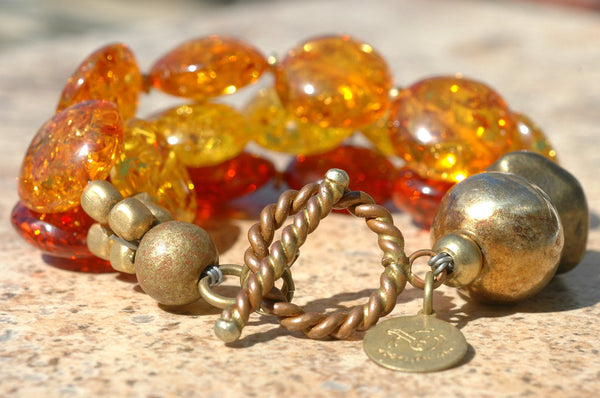 Multi Color Amber Resin, Gold and Brass Multi-Strand Chunky Bracelet