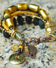 Venetian Gold Glass, Black Wood and Amber Tribal Charm Bracelet