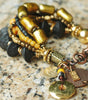 Stunning Venetian Gold Glass, Black Wood, Amber & Mixed Media Bracelet