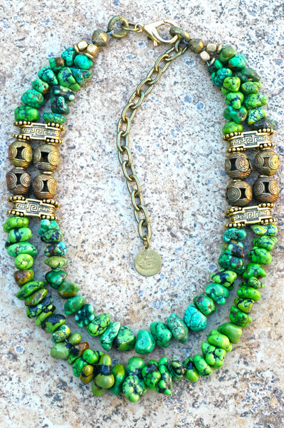 Gorgeous Natural Green Turquoise Nugget and African Brass Necklace