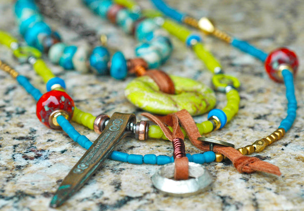 Bohemian Tribal Blue, Green and Orange Pendant Tassel Charm Necklace