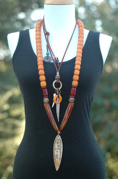 Exotic Bali Tribal Bohemian Long Layered Tusk Arrowhead Charm Necklaces