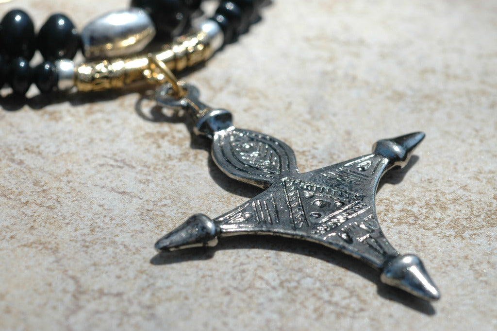 Elegant black onyx gold and silver tuareg cross pendant necklace aloadofball Choice Image