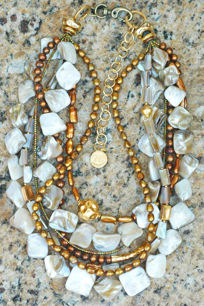 Stunning Champagne Pearl, Gold and Bronze Statement Necklace