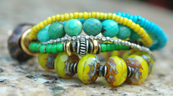 Blue, Green, Yellow, Copper & Silver Mixed Media Statement Bracelet