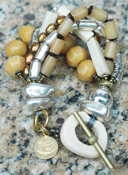 Multi-Strand Bone, Pearl & Silver Winter White Boho Statement Bracelet