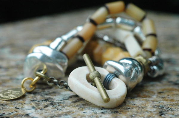 Multi-Strand Bone, Pearl & Silver Boho Chic Winter White Bracelet