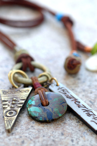 Tibetan Turquoise, Brass Arrowhead, Leather & Ring Charm Boho Necklace