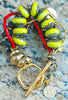 Chunky Chartreuse Glass, Black Agate, Coral & Gold Statement Bracelet