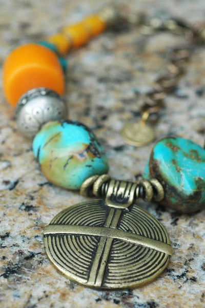 Moroccan-Inspired Turquoise, Amber, Silver and Brass Shield Statement Necklace