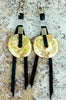 Gold Disc and Black Leather Statement Fringe Earrings