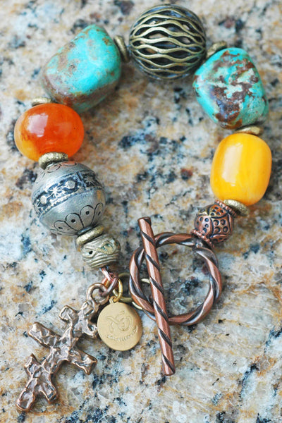 Moroccan-Inspired Turquoise, Amber, Silver and Bronze Cross Charm Bracelet