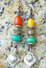 Moroccan-Inspired Turquoise, Amber, Silver and Brass Tribal Earrings