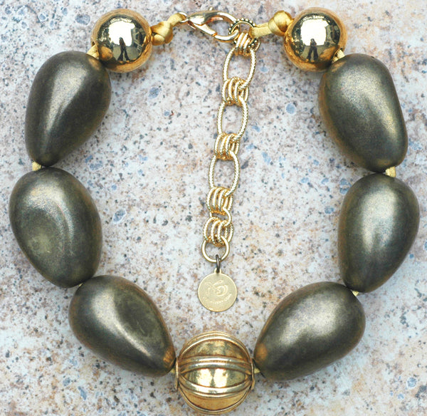 Bold and Beautiful Bronze Resin and Thai Gold Ball Choker Necklace