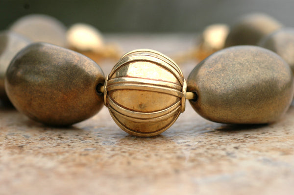 Bold Beautiful Bronze Resin & Exotic Thai Gold Ball Choker Necklace